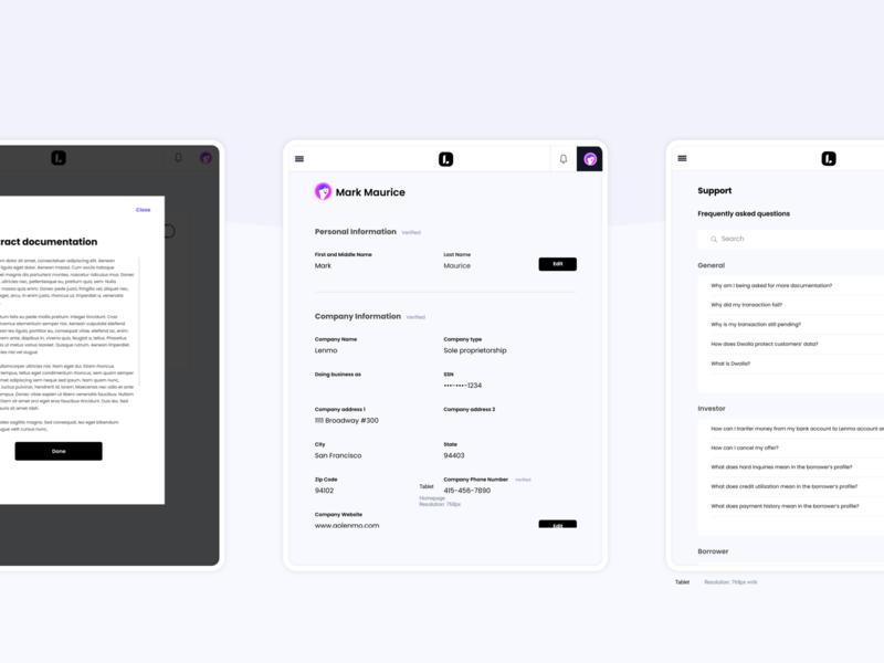 Lenme Enterprise- tablet view