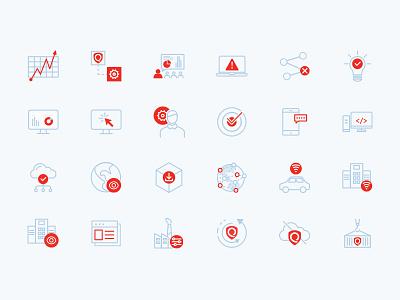 Icon set for IT security icons brand illustrator mobile ios identity minimal website flat web app icon branding vector ui design logo illustration