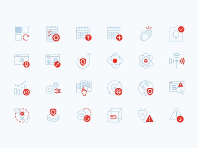 Icon set for IT security cloud hosting cloud app ui tech icon tech company minimal it security identity app tech design logo illustration icon brand flat vector illustrator icons design branding