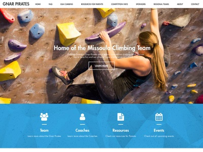 Web Design for Gnar Pirates climbing website modern grid design web design