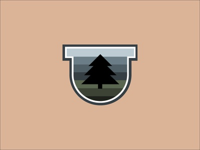 Tree Badge Icon design logo