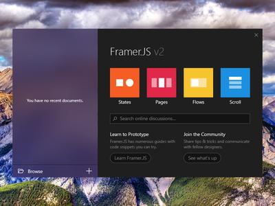 Framer.js UWP Welcome Screen