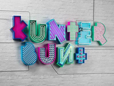 Kunterbunt final neon sign neon signage lettering 3d type 3d type