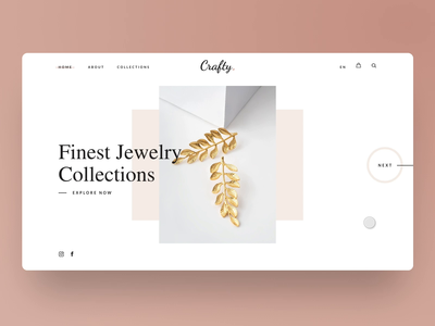 Jewelry WordPress Theme Redesign drag scrolling web design photos images serif typography grid homepage flinto figma jewelry smooth user interface ux ui scroll website animation web