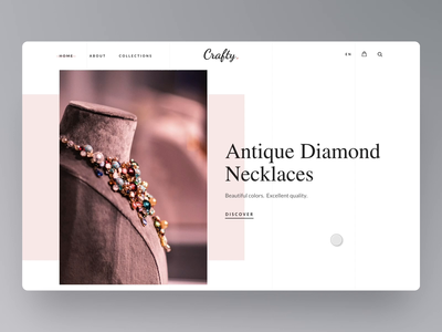 Smooth Scroll Animation flinto homepage ring necklace jewelry category grid drag sliding typography banner website design ui user interface prototype animation clean scroll smooth