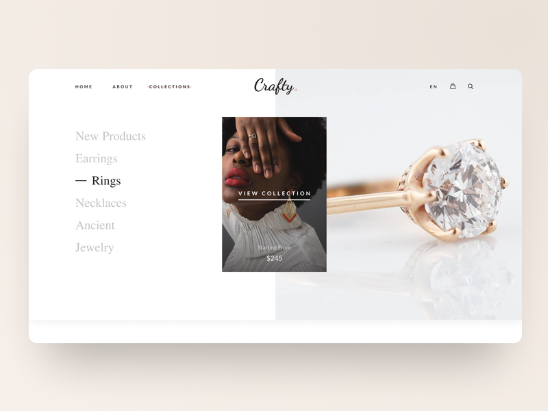 Dropdown Menu - Expanded View expanded jewelry web design web deskop grid layout typography category categories ecommerce fashion interface user interface ux ui megamenu expand menu dropdown
