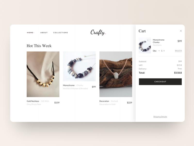 Shopping Cart UI & Journal Section journal layout desktop expand user interface interface sidebar ux ui web web design fashion jewelry online shop shop grid checkout basket cart ecommerce