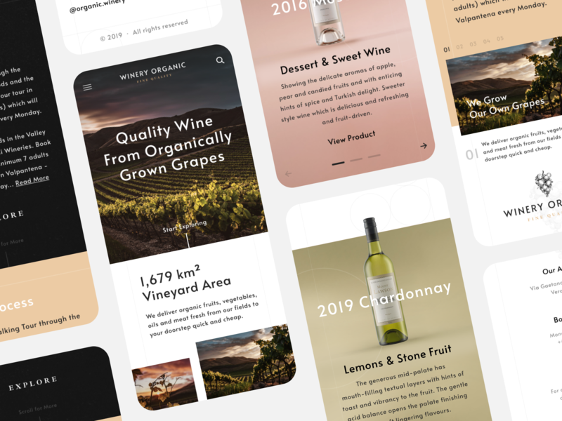 Winery Mobile Website ecommerce user interface landing page landing interface ux ui website layout typography grid web design grapes vineyard winery wine app mobile responsive