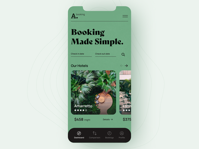 Booking App Exploration design booking mobile app ux ui hotel website iphone minimalistic clean mobile app application interface grid layout typography