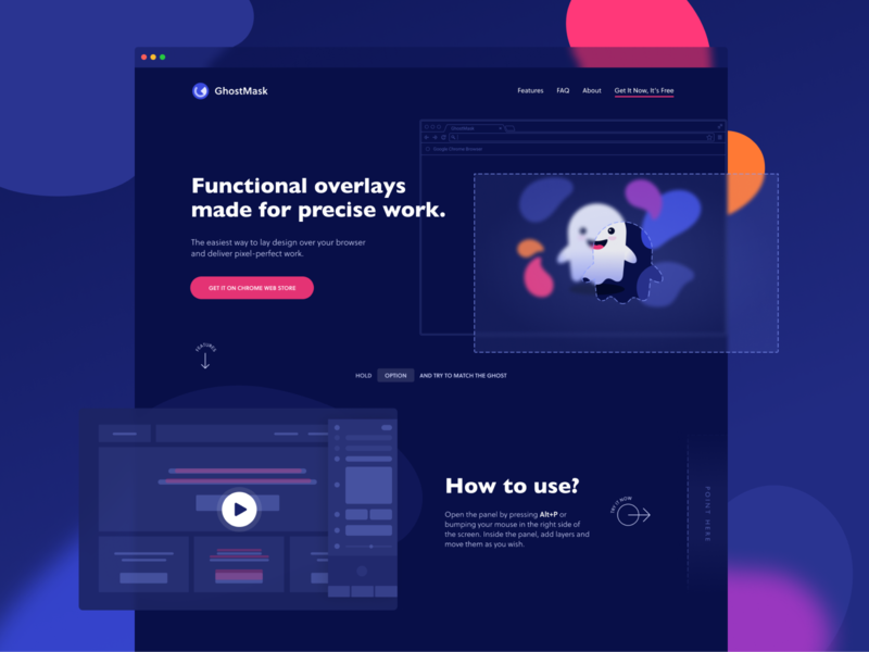 GhostMask Landing Page illustrations figma user experience user interface landing page ui software product marketing ui design desktop colorful interface ghostmask typography layout extension chrome ux ui landing page