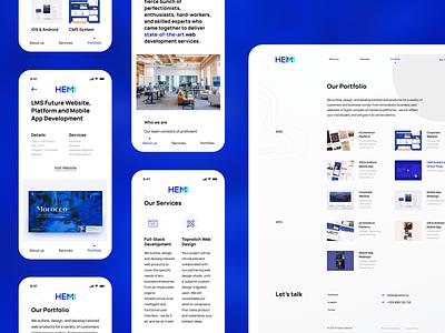 Hemm Studio Portfolio - Responsive ipad tablet grid experience figma application mobile app mobile website web design layout case study portfolio ux interface ui mobile app responsive studio development