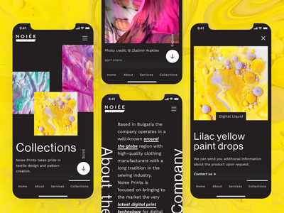 Noiee Prints - Dark Mode Mobile Pages user interface web design grid responsive simple colorful print dark dark mode typography layout figma app mobile website interface ux ui