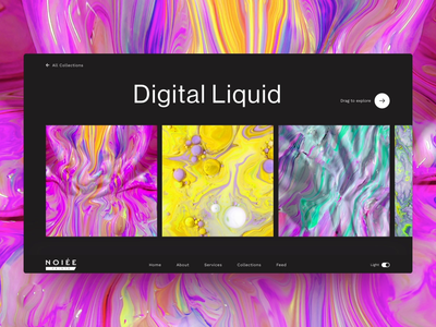 """Digital Liquid"" Collection - Desktop Interactions product design collections website dark ui dark more typography simple contrast pantone popup layout printing print pattern liquid digital colorful user interface ux ui"