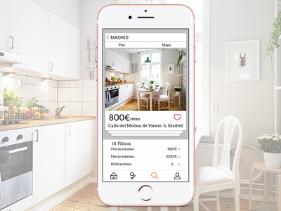 iPhone Rental Application mockup wireframes spain home app house pink iphone apple home rental app prototype logo desktop ui  ux ui ios inspiration design app