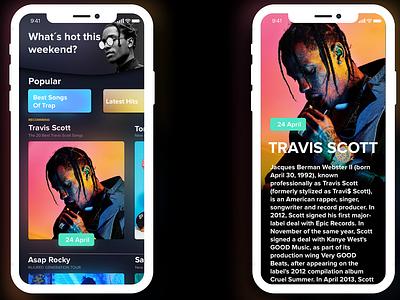 iPhone X Music News APP noticed black prototype concept app music mockup colours cool colors events music app branding iphone apple ui  ux ui ios inspiration design app