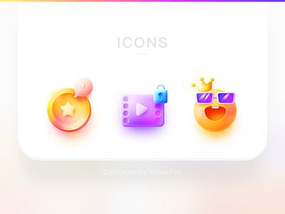 Big Sur Icon big sur friendly colors vip member video gold coin icon set bright icon illustration