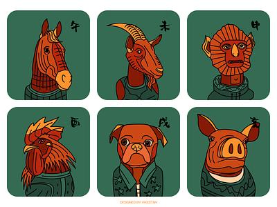 Chinese Zodiac#2 tradition animals green illustration pig dog cock monkey sheep horse zoo animal