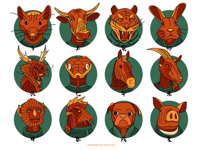 Twelve Zodiacs doodle line pig dog chicken monkey goat horse snake dragon rabbit tiger buffalo mouse constellation animal tradition illustration