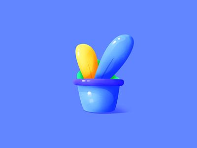 Potted plants soft plant blue tan bright illustration
