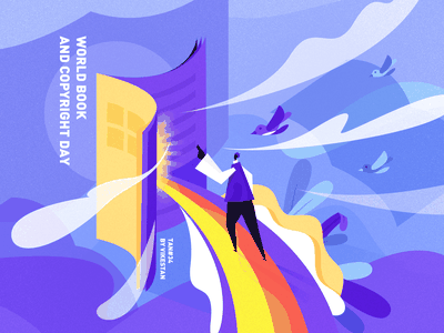 TAN#34 World Book and Copyright Day scenery cloud bird rainbow festival book man ui web illustration tan hard edge geometry