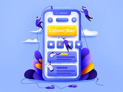 Labour Day blue headset hot pixel vacation plant festival ui web phone people design illustration