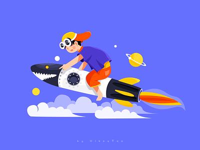 International Children's Day curious cloud fly missile rocket star festival children blue ui web illustration