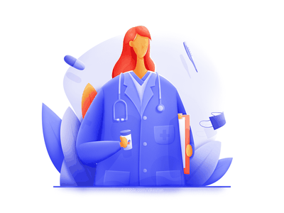 Doctor file woman float soft plant stethoscope mask medicine ui web illustration blue