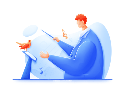 Conductor gentleman master music bird soft business profession man illustration ui web blue