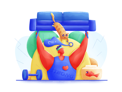 Fitness coach strong healthy search cat fish muscle sofa ui web illustration soft man