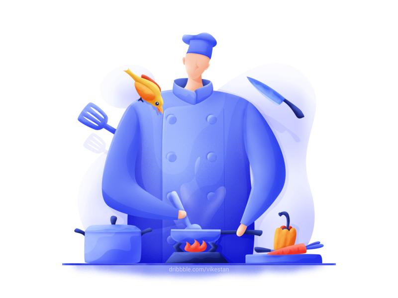 Cook soup cooking pot vegetables bird soft man blue ui web illustration chef