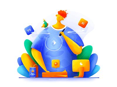 Designer bright art draw plant bird soft man blue ui web illustration design