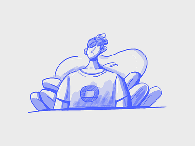 Practice wind soft graphic tablet bright plant web ui illustration blue man