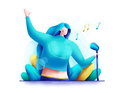 Singer blue full light plant music bright soft ui web illustration woman sing