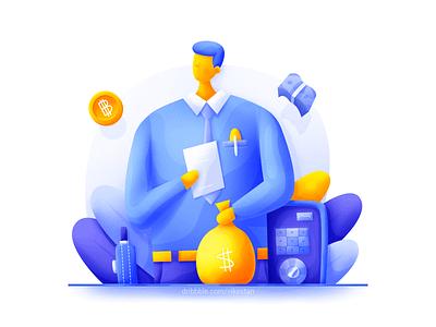 Businessman plant bright file briefcase safe money gold web illustration man blue business