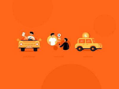 Car illustrations driving cambodia transaction money knowledge ui web illustration man vehicle automobile orange