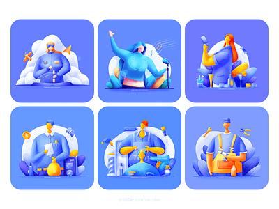 Six occupations #2 float builder barber businessman bartender singer pilot smooth business cloud woman bright web illustration plant blue man
