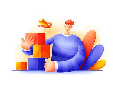 Building blocks web ui plant man illustration fly business bright blue bird