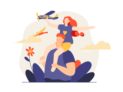 Fly woman bird plant bright man ui web illustration