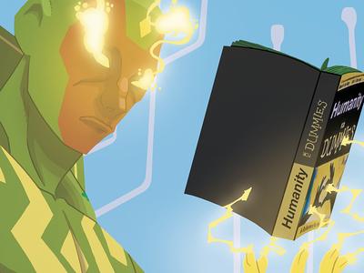 The Vision (blue version) photoshop digital illustration comicbook comics vigilante superhero fan art concept art character design marvel vision