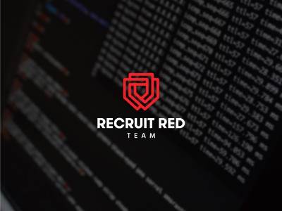 Recruit Red Team lines flow red visual identity brand identity simple solid team cyber shield logo logomark