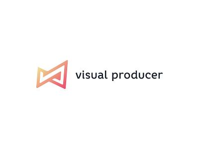 Visual Producer monogram logomark bright feminine logodesign videographer photographer gradient soft