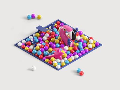 Bricks - Digital Factory - Close up 5 ui design illustration balloon inflated balloon pink floyd fun lycanthrop conserto vray maxon cinema 4d c4d 3d nicolas delille