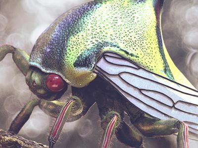 Umbonia Crassicornis - 3D Artist #89 cgi illustration nicolas delille maxon c4d cinema 4d cinema4d 3d umbonia crassicornis 3dartist