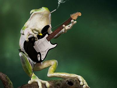 Guitar Frog design vray maxon illustration 3d cinema 4d c4d nicolas delille frog guitar