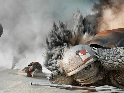Turtle War illustration vray maxon cinema 4d c4d 3d nicolas delille war turtle turtle war