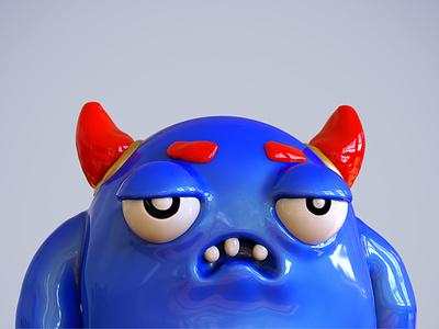 Blue badass monster - 01 funny keyshot photoshop sculpture zbrush cgi 3d nicolas delille monster badass blue