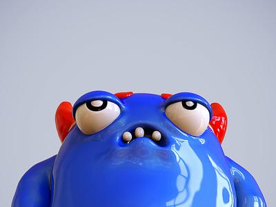 Blue badass monster - 02 cgi zbrush sculpture 3d nicolas delille blue badass monster adobe photoshop keyshot