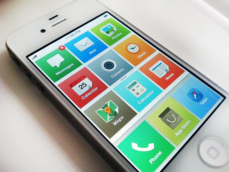 iOS 7 home concept ios7 ios home tiles ui design interaction pagination iphone concept