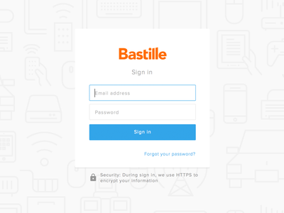 Bastille sign in page network bastille security devices iot flat ui desktop login sign in