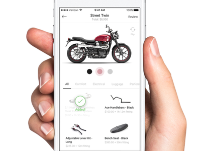 Triumph Customize Motorcycle - Mobile Experience clean white ui simple ui ios iphone product ui flow customize motorcycles triumph